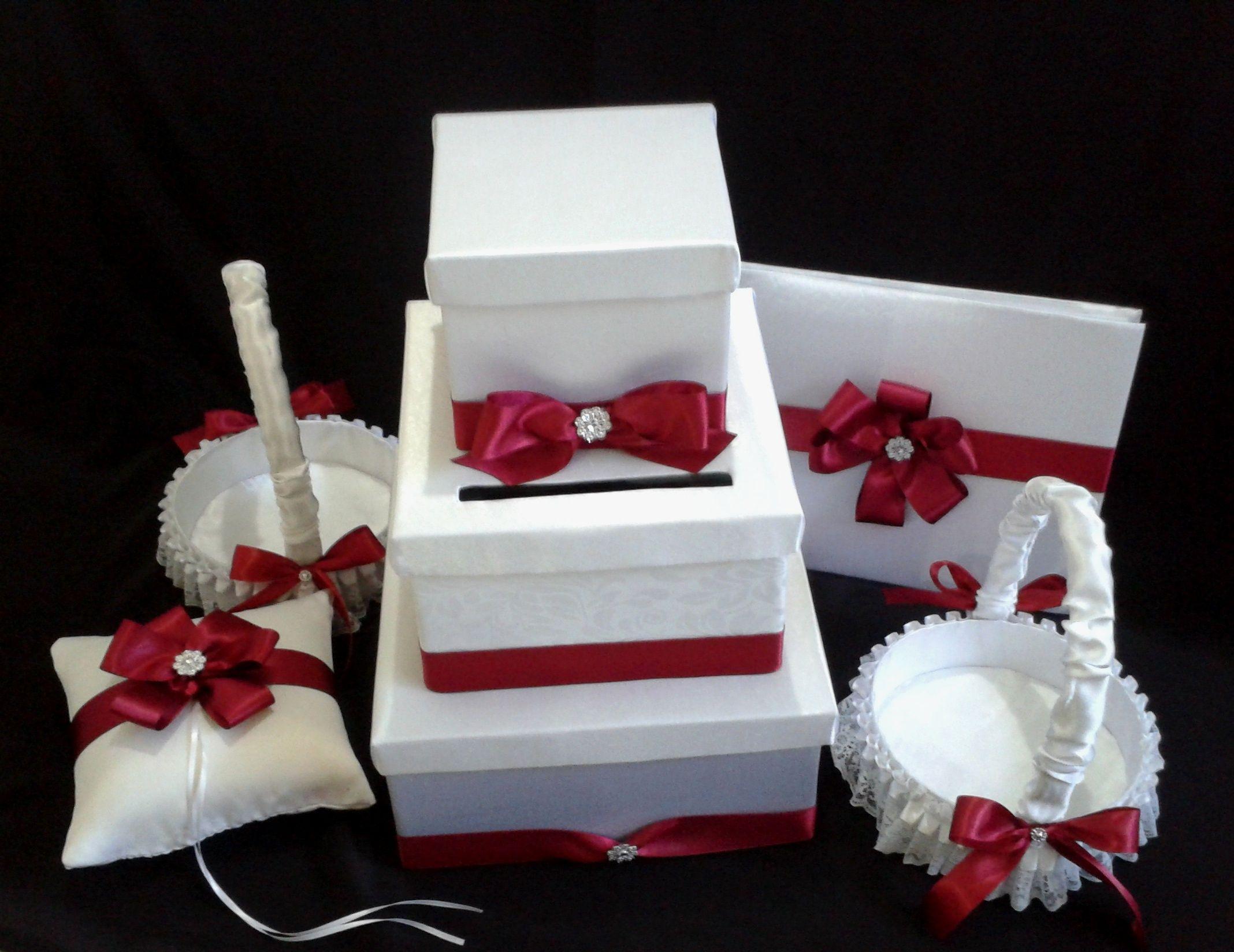 combo caja para sobres libro para firmas cojin y cestas para anillos