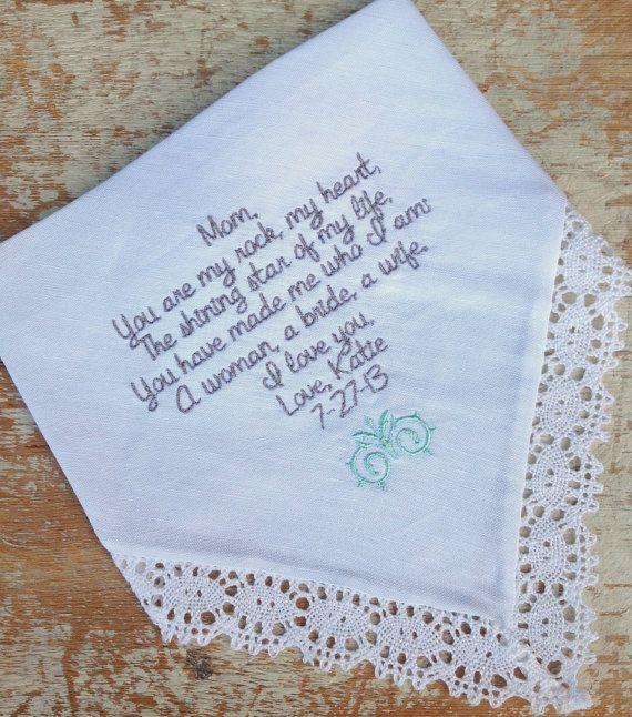 Embroidered Wedding Handkerchief Monogrammed custom Mom from Bride heirloom  personalized hankie gift embroidery parents | Handkerchiefs, ...