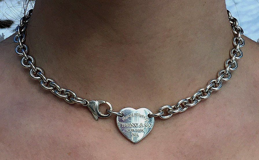 Return To Tiffany Co New York Nyc 925 Sterling Silver Heart Tag Chain Choker Necklace 15 Silver Jewelry Handmade Jewelry Sterling Silver Heart