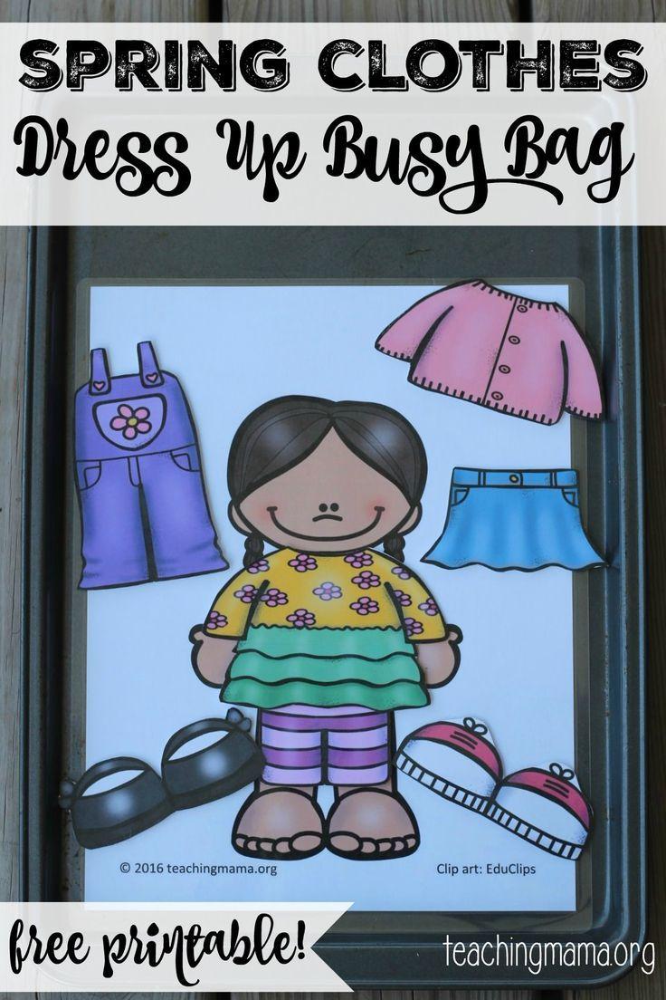 Spring Clothes Dress Up Busy Bag Busy Bags Spring Preschool Preschool Activities [ 1104 x 736 Pixel ]