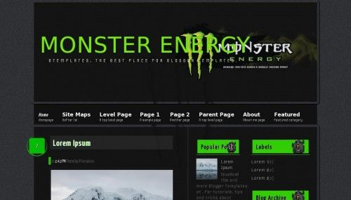 Monster Energy Blogger template » http://btemplat.es/9745 | Blogger ...