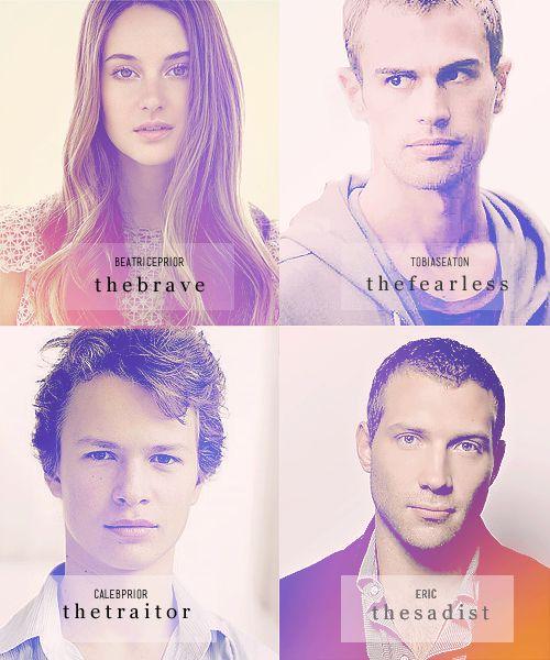 Tris, Quattro, Caleb ed Erik ♥♥♥ grandi personaggi ♡ #Divergent