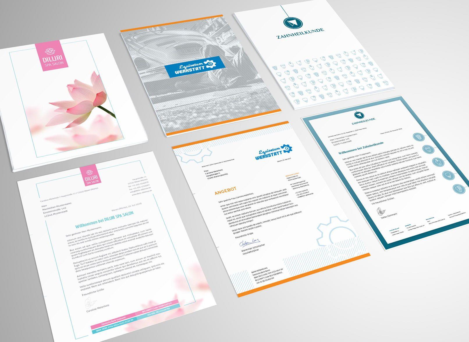 Briefpapier Designs Für Word Indesign Und Coreldraw