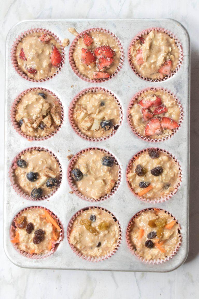 Healthy toddler banana oat muffins 3 ways recipe