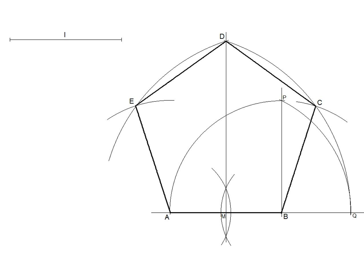 How To Draw A Regular Pentagon Knowing The Length Of One Side Drawings Pentagon Draw