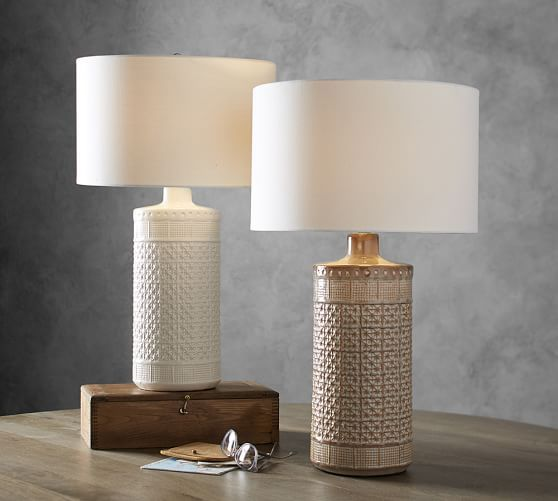 Jamie Young Emma Ceramic 27 Column Table Lamp White Table
