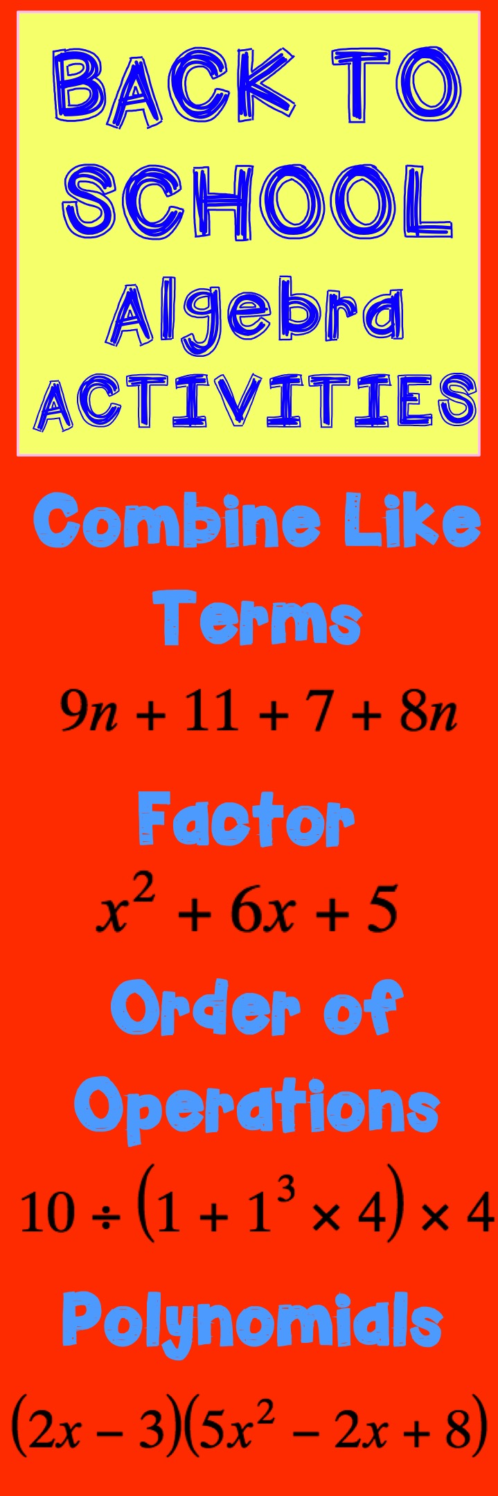 Back to school algebra activities combing like terms linear back to school algebra activities combing like terms linear equations order of operations ccuart Gallery