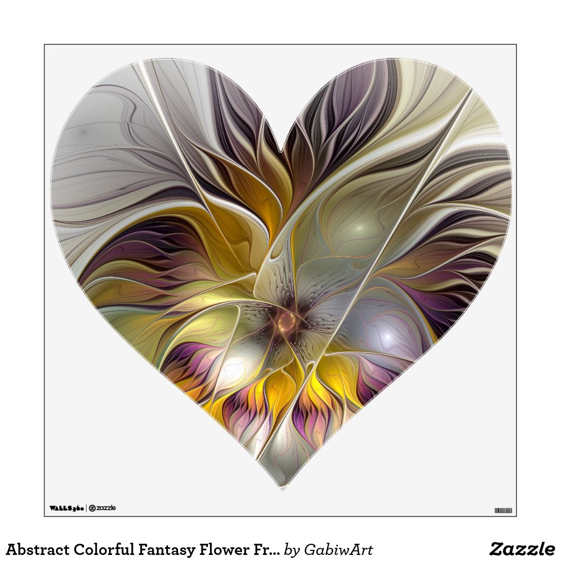 Abstract Colorful Fantasy Flower Fractal Art Heart Wall Decal Zazzle Com In 2021 Heart Wall Decal Fractal Art Abstract