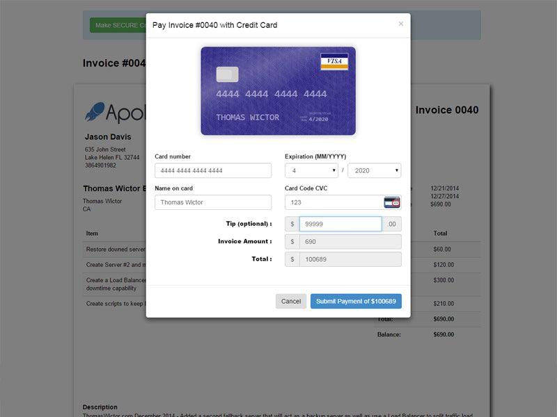 Apollo Web Studio Invoice With Css3 Animated Credit Card Form Web Studio Cvc Card Credit Card