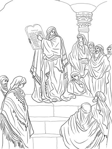 Ezra reading the law coloring page coloriages religieux for Haggai coloring page
