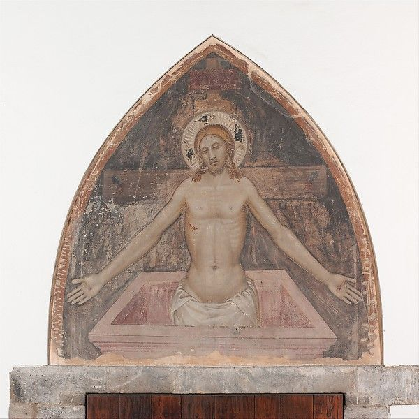 Niccolò di Tommaso (Italian, active 1343–76). Man of Sorrows, ca. 1370. The Metropolitan Museum of Art, New York. The Cloisters Collection, 1925 (25.120.241)   This impressive devotional image by a follower of Nardo di Cione presumably came from a Florentine monastery. It may originally have been placed above a door or as a lunette beneath an arch, or possibly in a niche above a tomb. Shown as the Man of Sorrows, at once dead and alive, Christ displays the wounds of his Passion. #Cloisters