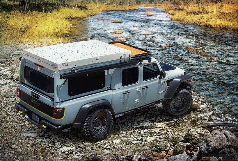 Jeep Gladiator Farout Concept Turns Pickup Truck Into Off Grid Micro Rv In 2020 Jeep Gladiator Cool Jeeps Jeep