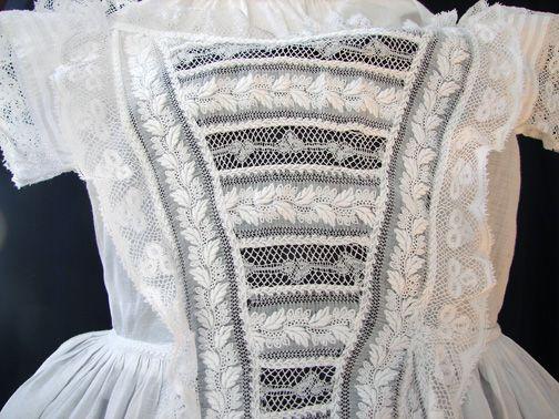 Maria Niforos - Fine Antique Lace, Linens & Textiles : Antique Christening Gowns & Children's Items # CI-90 Circa 1860, Fine Ayrshire Whitework Dress