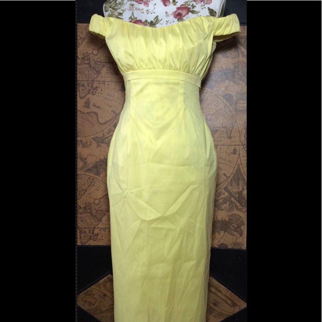 Talbot runhof yellow off shoulder dress sz talbot runhof