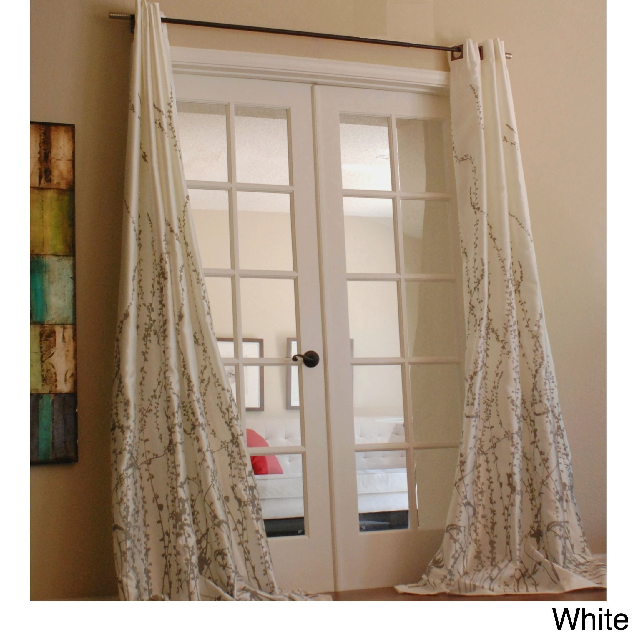 Curtain pair overstock shopping great deals on lights out curtains - Lara 96 Inch Shimmer Panel Window Curtain White Size 54 X 96