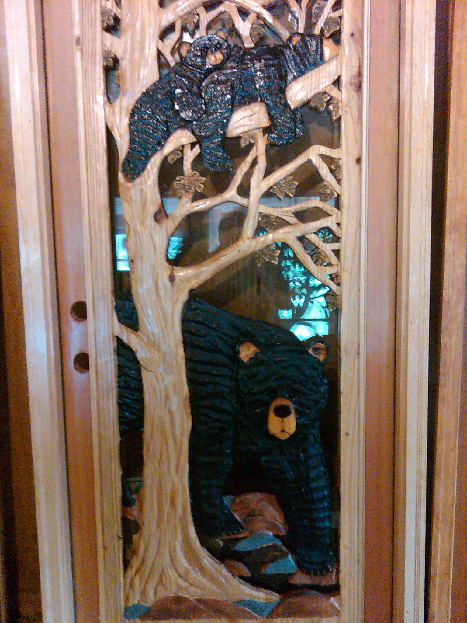 Chainsaw carved door panel artist name unknown pidgeon