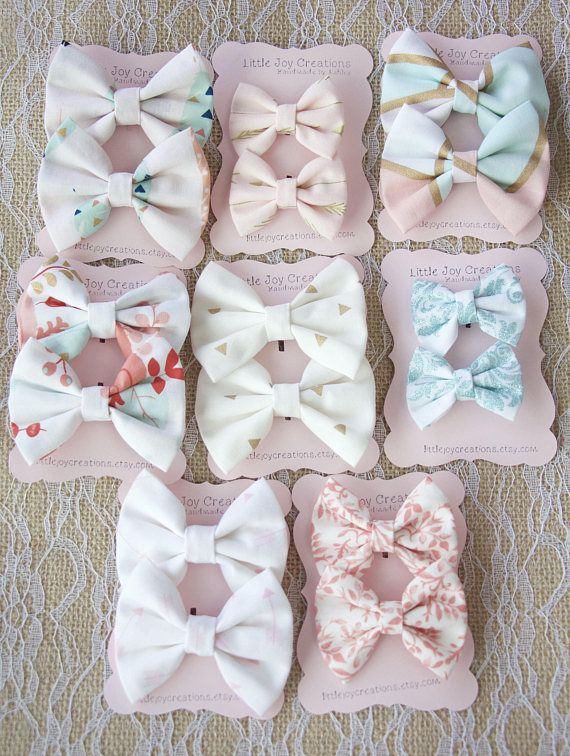 Trendy and adorable Hair Bows - Handmade Fabric hair bows - CHOOSE FROM 9 FABRICS - Set of 2 bows - Girls Hair Bows - Baby Hair Bows