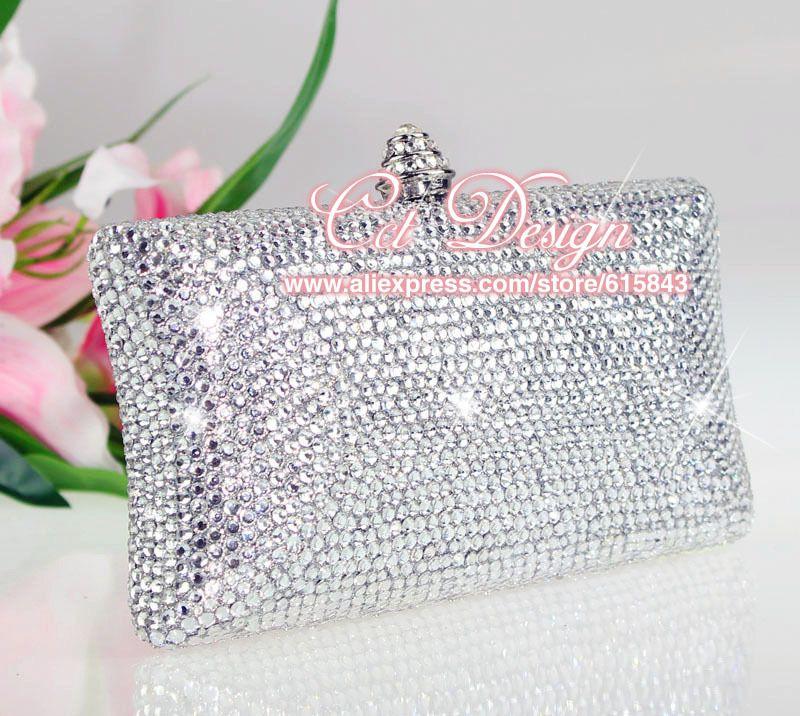Handmade Evening Bags Women White Clutch Wedding Bridal Handbag Silver Rhinestone