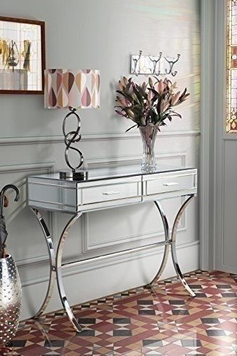 Mirrored Dressing Table Contemporary Console Desk Bedroom Glass