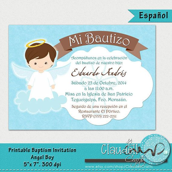 baptism angel boy printable invitation card invitacin bautizo nio