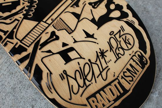 ENGRAVED BOARDS FOR AGAINST THE GRAIN SHOW on the Behance Network by @123klan #graffiti #art #design