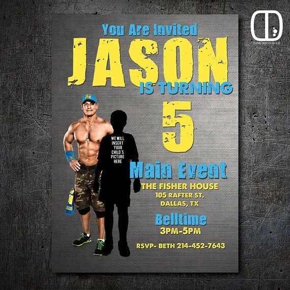 John Cena Custom Invitation With Photo Boy Girl Wrestling Birthday