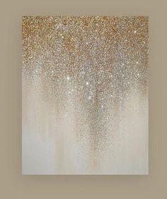 Turquoise, Metallic Gold, Glitter Art Painting Acr