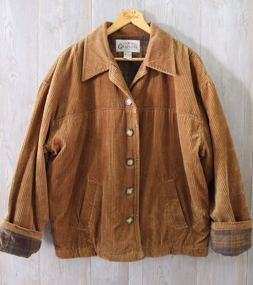 Vintage 90s Women S Oversized Boxy Brown Corduroy Barn Coat Jacket L Clothes Aesthetic Clothes Cute Casual Outfits [ jpg ]