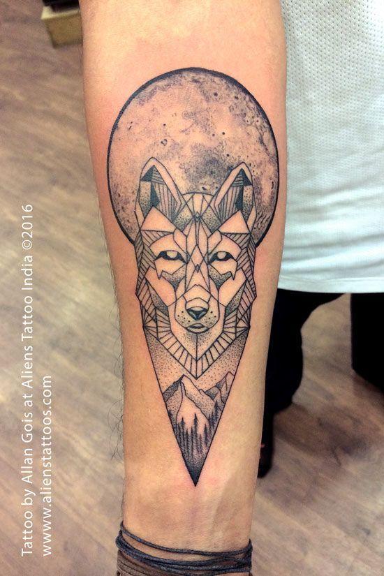 Geometric Wolf Under A Full Moon Forearm Tattoo Geometric Wolf Tattoo Tattoos For Guys Alien Tattoo