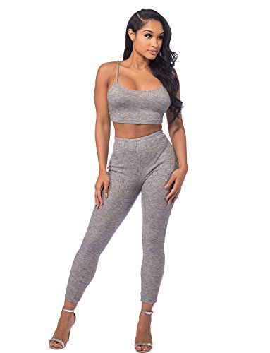 704157d7808441 Sedrinuo Women Sexy 2 Pieces Sleeveless Knitted Crop Tops Bodycon Pants  Party Club wear Set
