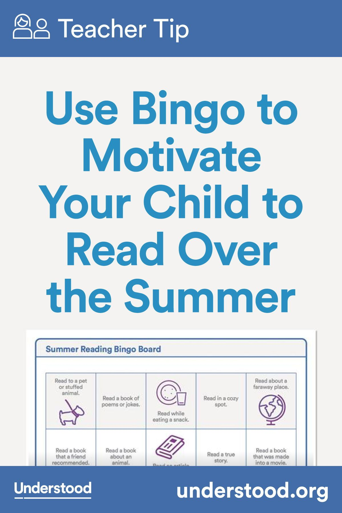 Teacher Tip Use Bingo To Motivate Your Child To Read Over
