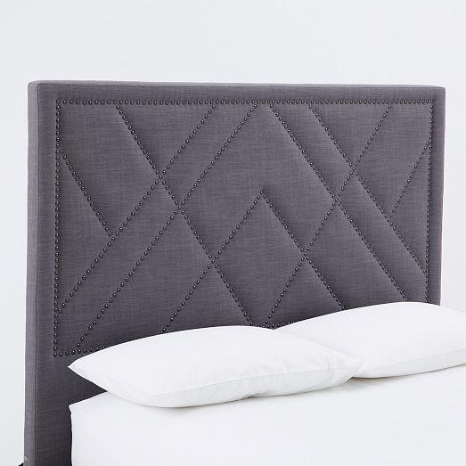 diy idea - Patterned Nailhead Upholstered Headboard | west elm ...