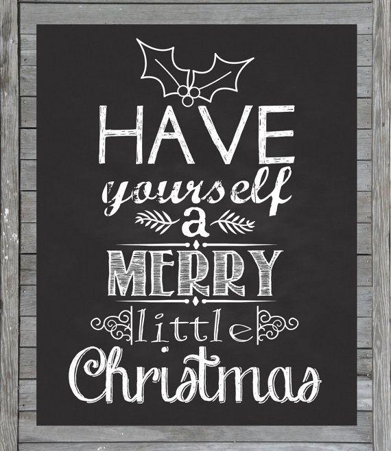 Christmas Chalkboard Printable Instant Download By JustAPeekAHoo