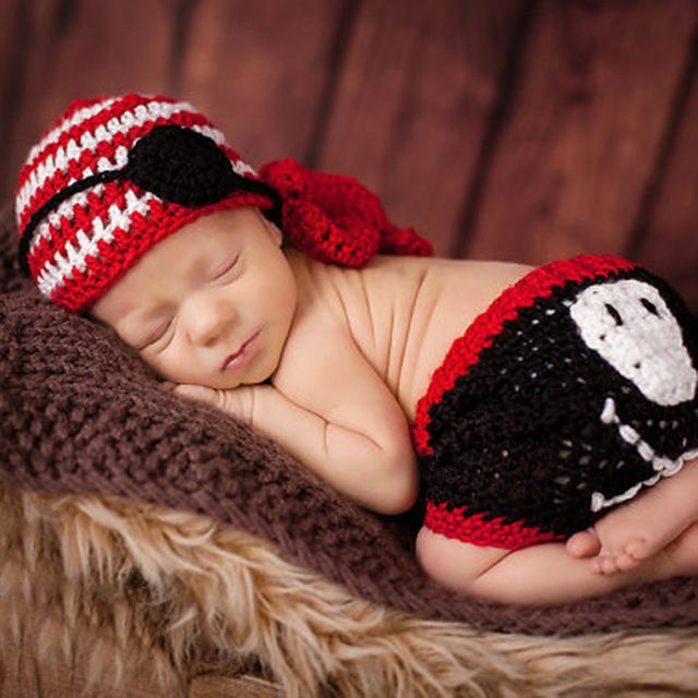 Newborn Baby Crochet Knit Costume Photography Photo Prop Hat Pants Outfit 0-4M