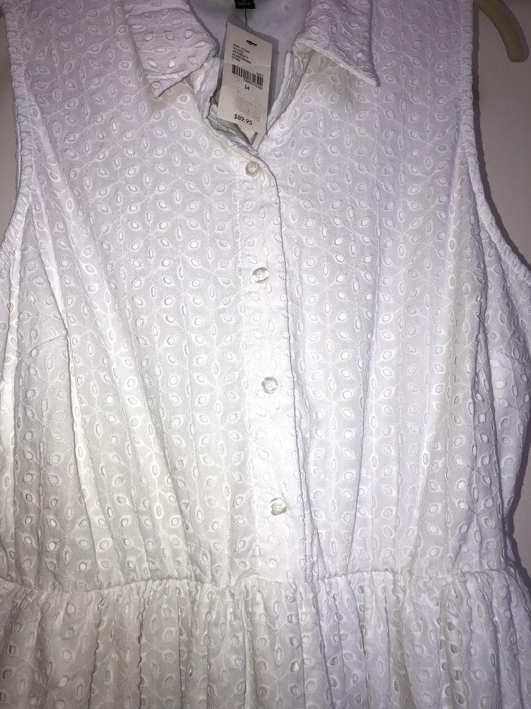 687756c683539 Lane Bryant White Cotton Eyelet Lace Sleeveless Dress  fashion  clothing   shoes  accessories