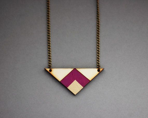 Wooden Geometric Triangle Necklace Purple Gold by FawnAndRose, £16.00