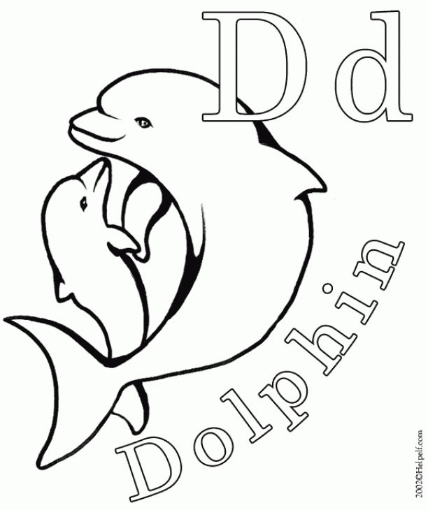 D Is For Dolphin Printable Coloring Sheet For Children ...