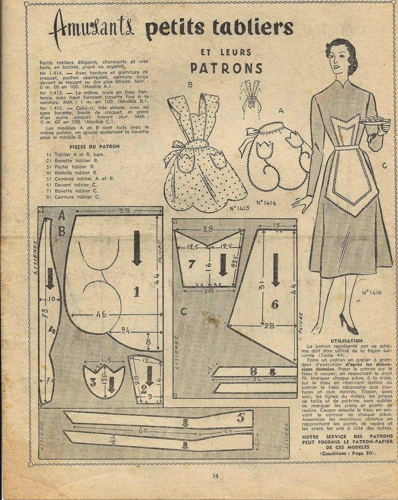 Couture patron vintage | Couture - patrons vêtements | Tablier ...