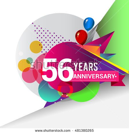 56 Years Anniversary logo with balloon and colorful geometric background, vector…