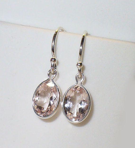Morganite Earrings in Sterling Silver on Etsy, $39.00