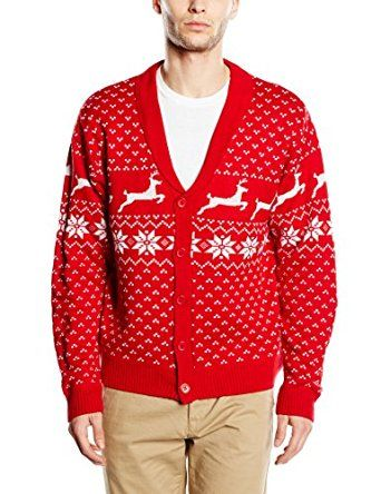 Christmas Jumper Nordic Men Women - Fairisle Cardigan - Red ...