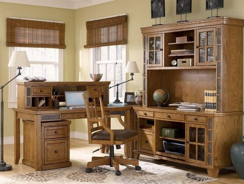 Cottage Style Home Office Furniture With Floor Lamp