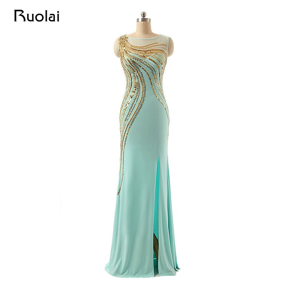 >> Click to Buy << Real Photo Mint Prom Gown 2017 Scoop Gold Sequin Dress Mermaid Sexy Evening Dress Long Party Dress Vestido de Fiesta Largo PD17 #Affiliate