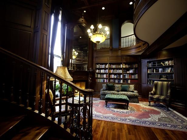 2 story home office Home two story office and reading nook - library page