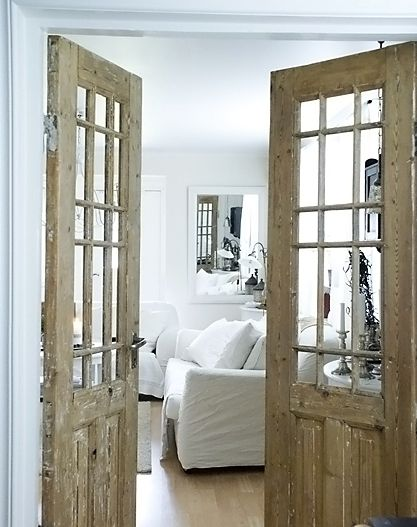 Distressed french doors opportunity knocks pinterest - Solid wood french doors interior ...