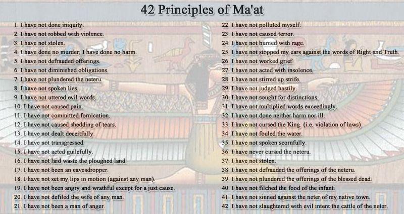42 Divine Laws Of Maat The 42 Natural Affirmation Laws Of Ma At Biblical Ten Commandments Spiritual Ascension Maat Ten Commandments