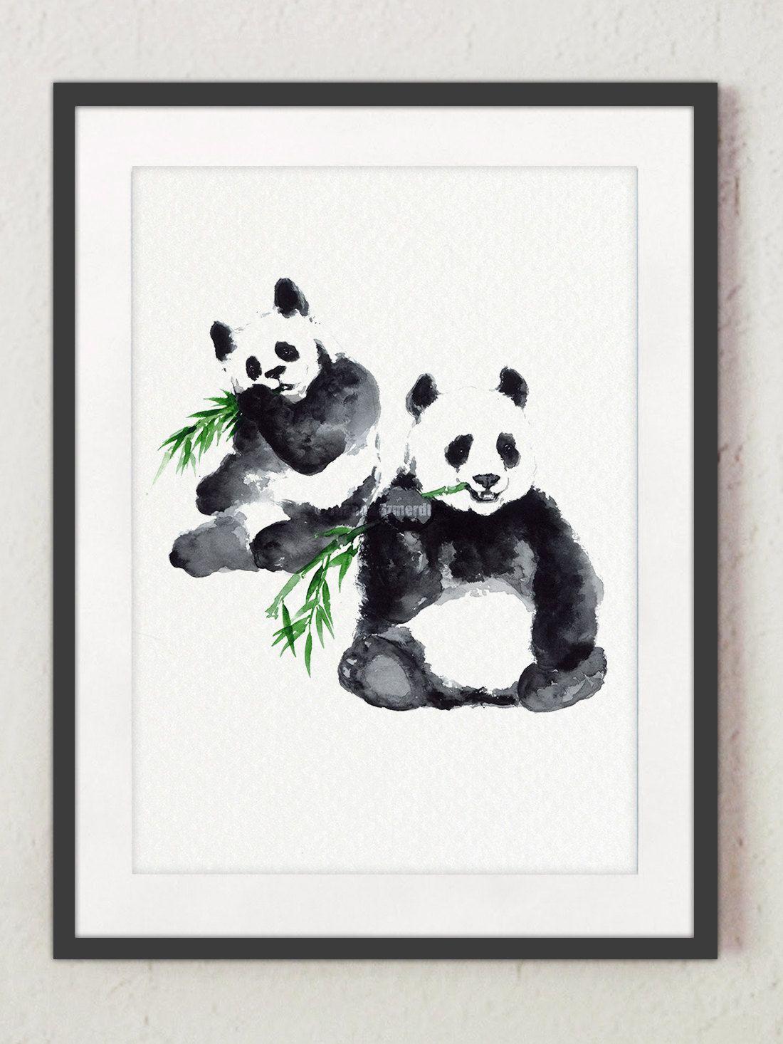 Panda Sleeping Watercolour Art Print Framed Poster Wall Decor