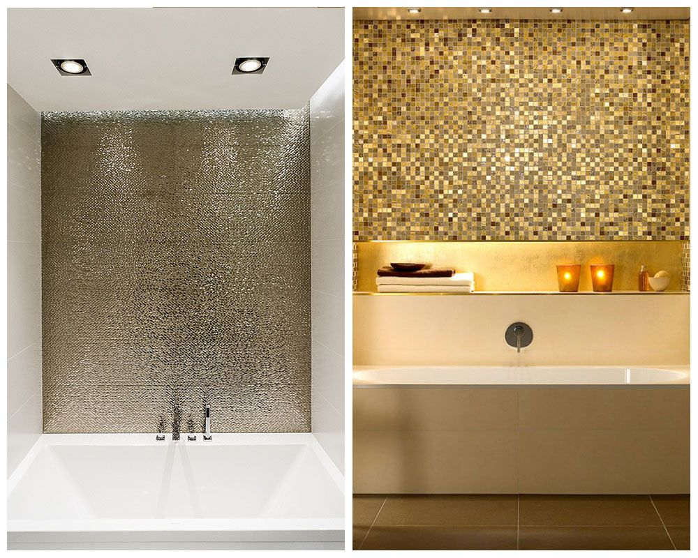 Ways To Bring The Metallic Trend Into Your Home Pinterest - Metallic bathroom tiles