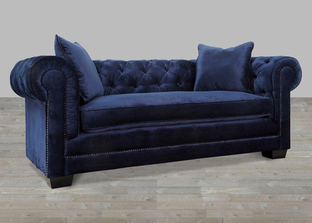 Navy velvet sofa with nailheads soothing blue blue - Navy blue velvet sofa ...