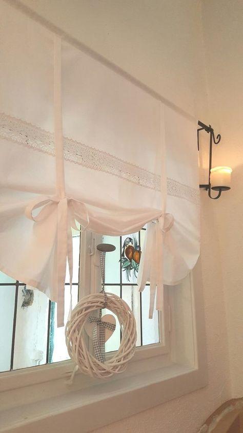 Gardine Raffrollo Spitze Weiss 90 110 130 150 Landhaus Shabby Vintage Retro In Mobel Woh Shabby Chic Kitchen Curtains Shabby Chic Bathroom Shabby Chic Kitchen